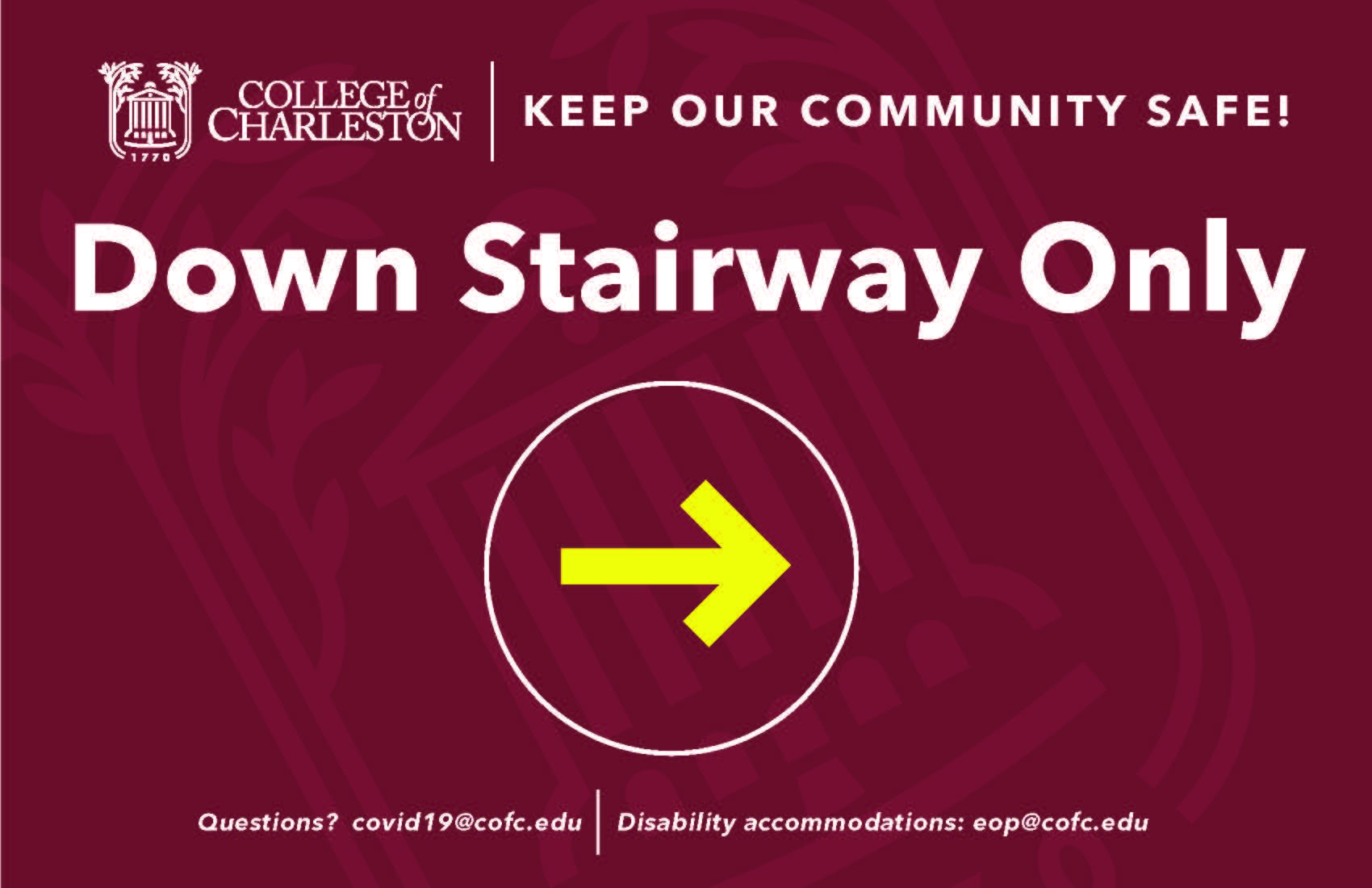 image of signage for down stairway only