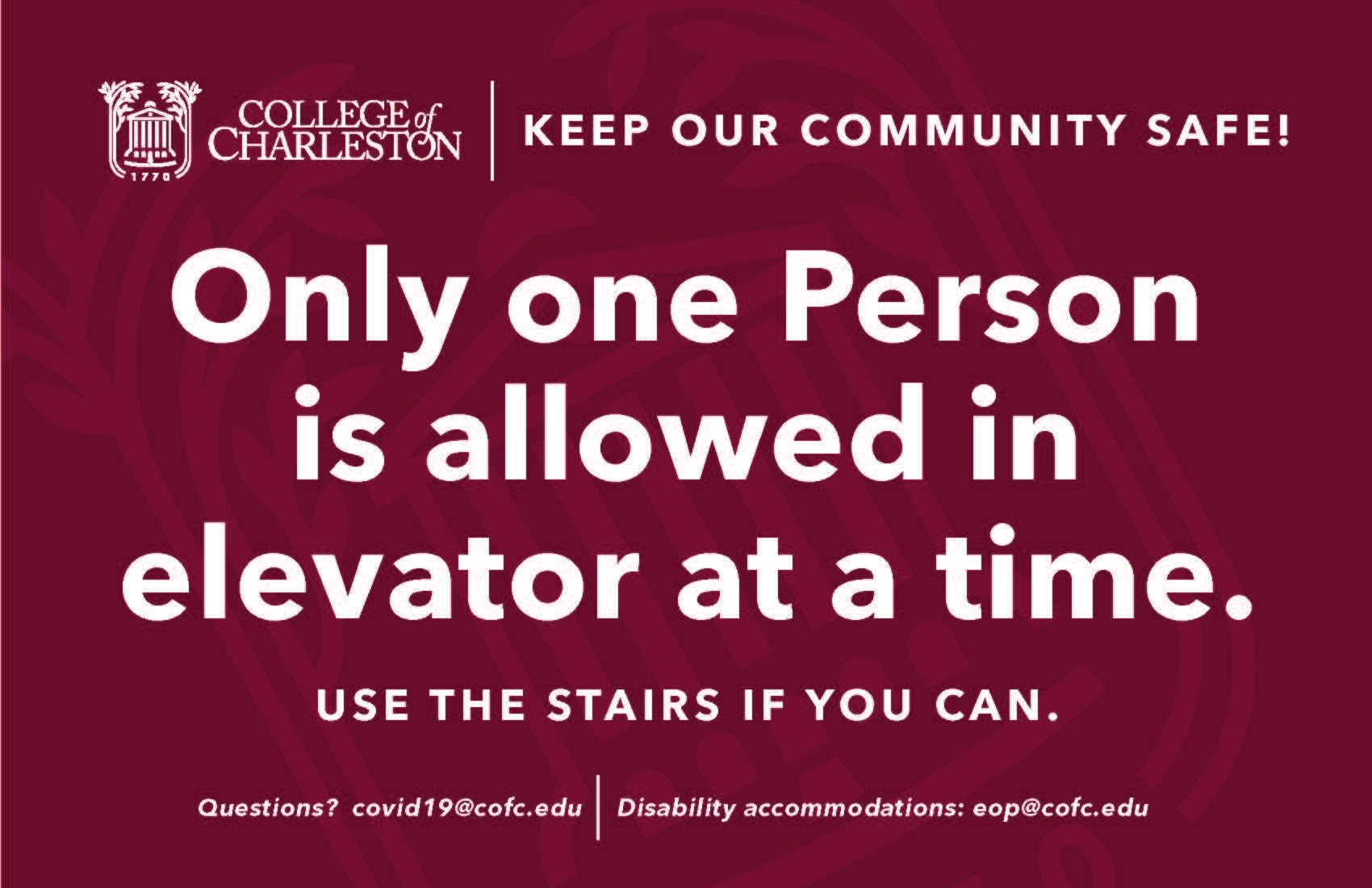 image of signage for one person on elevator only