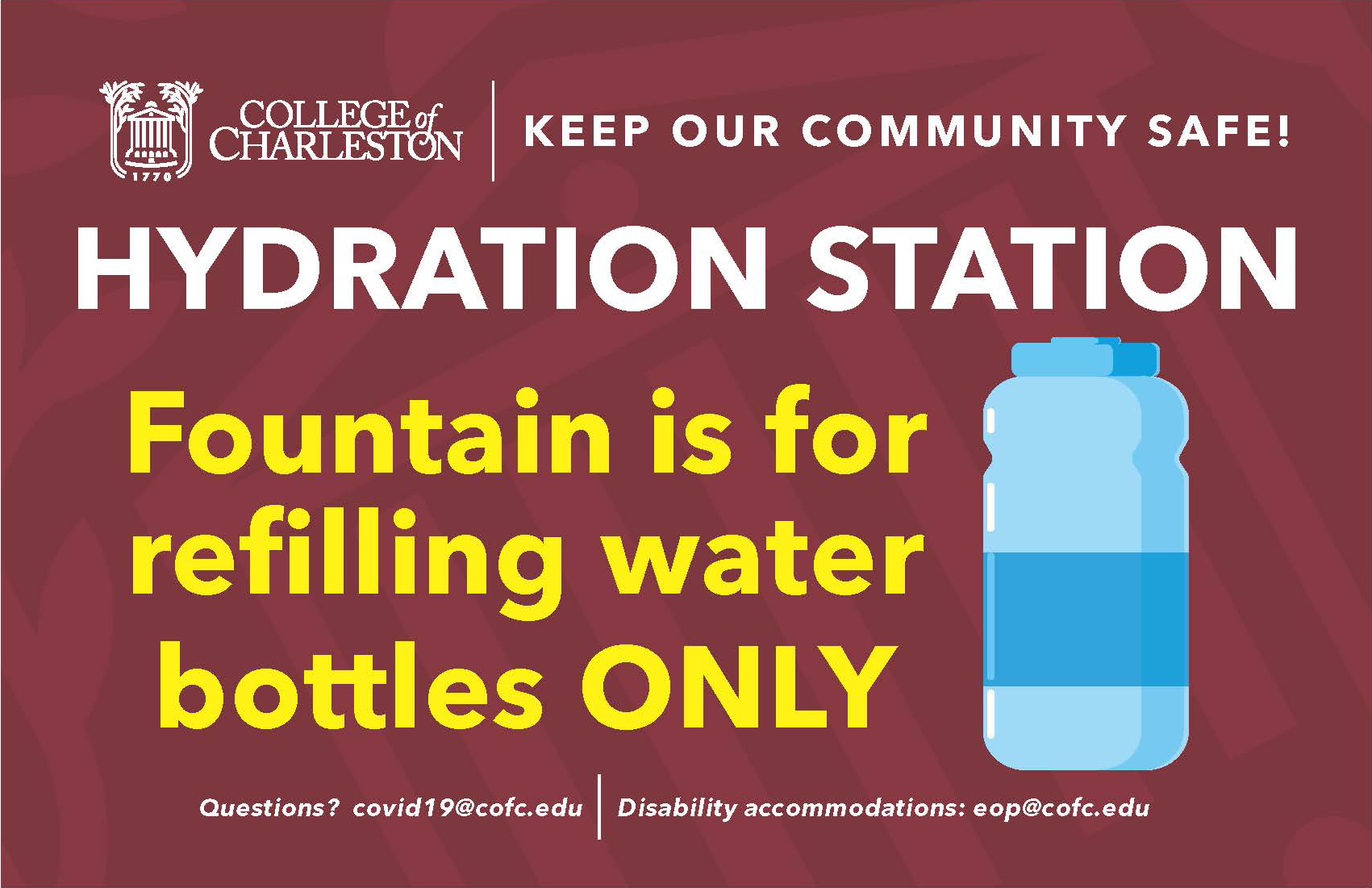image of signage for hydration station