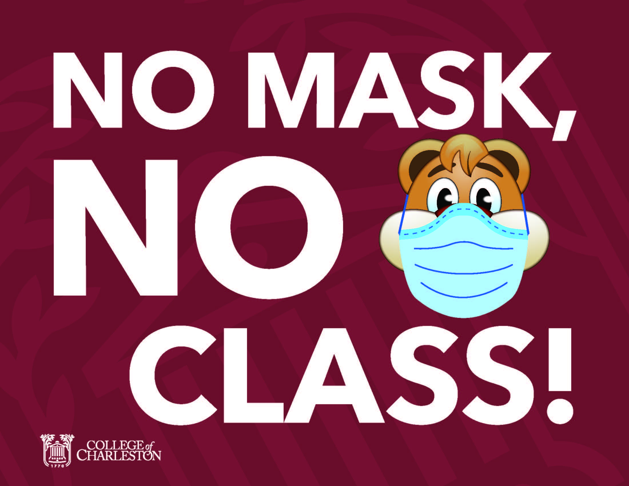 image of signage for no mask no class