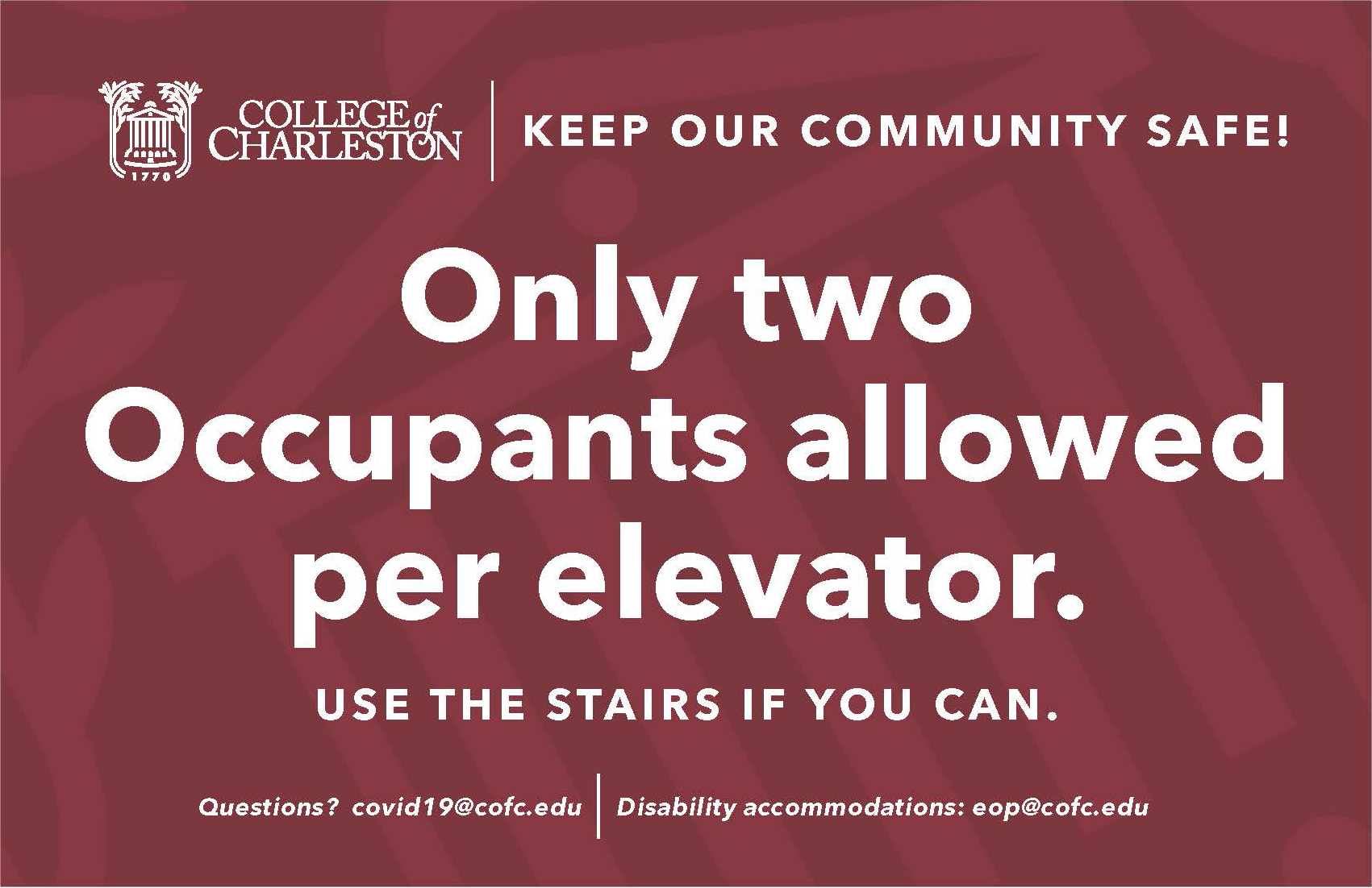 image of signage for two occupants on elevator only