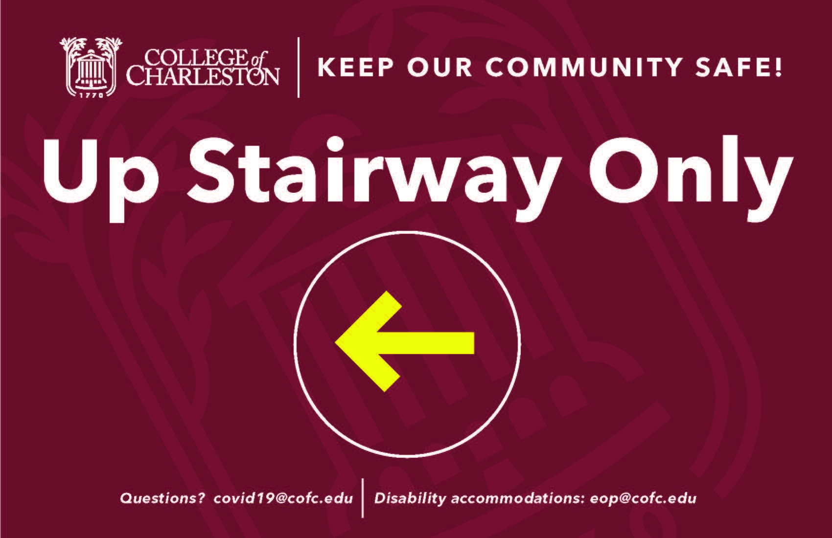 image of signage for up stairway only