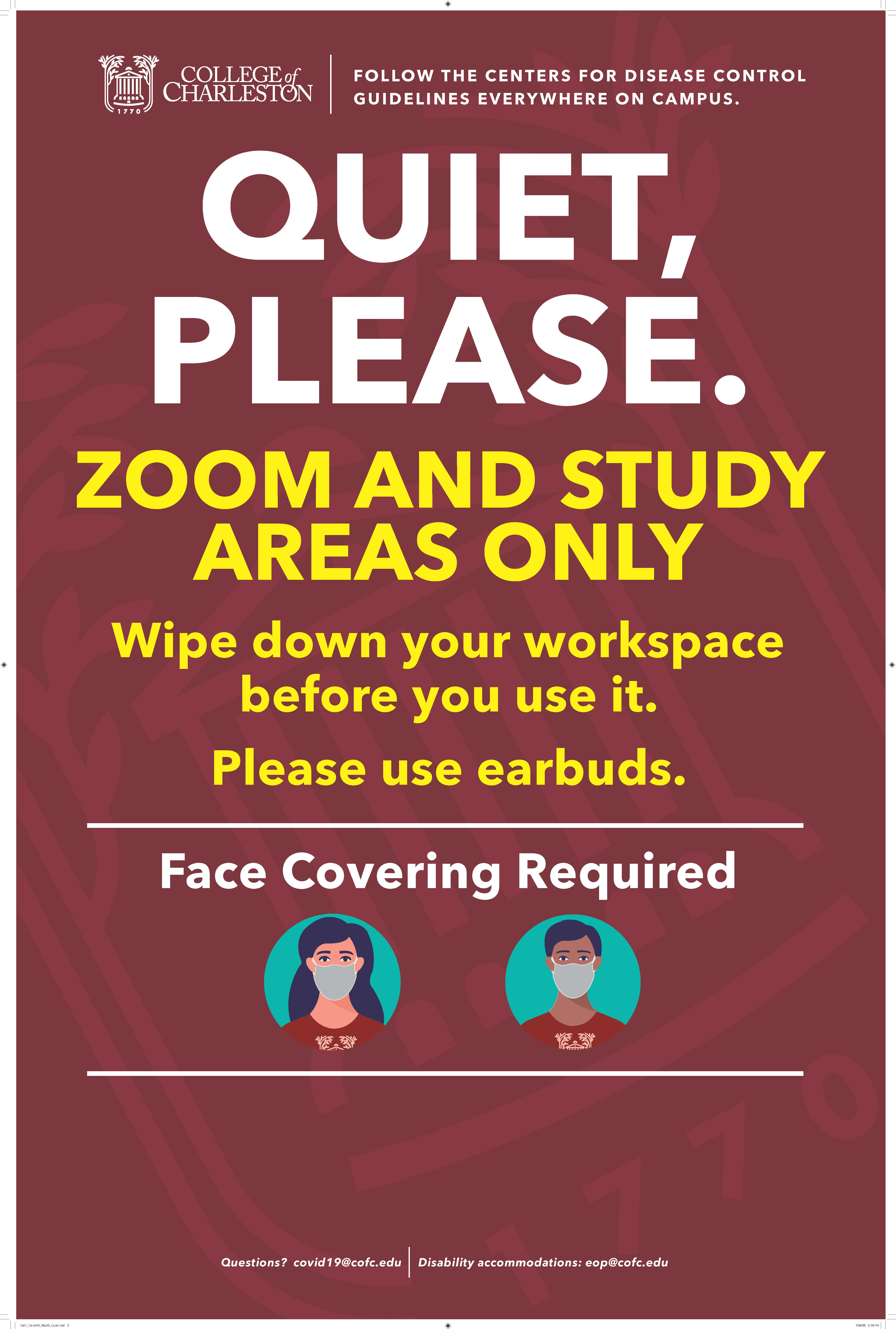 image of signage for zoom and study area