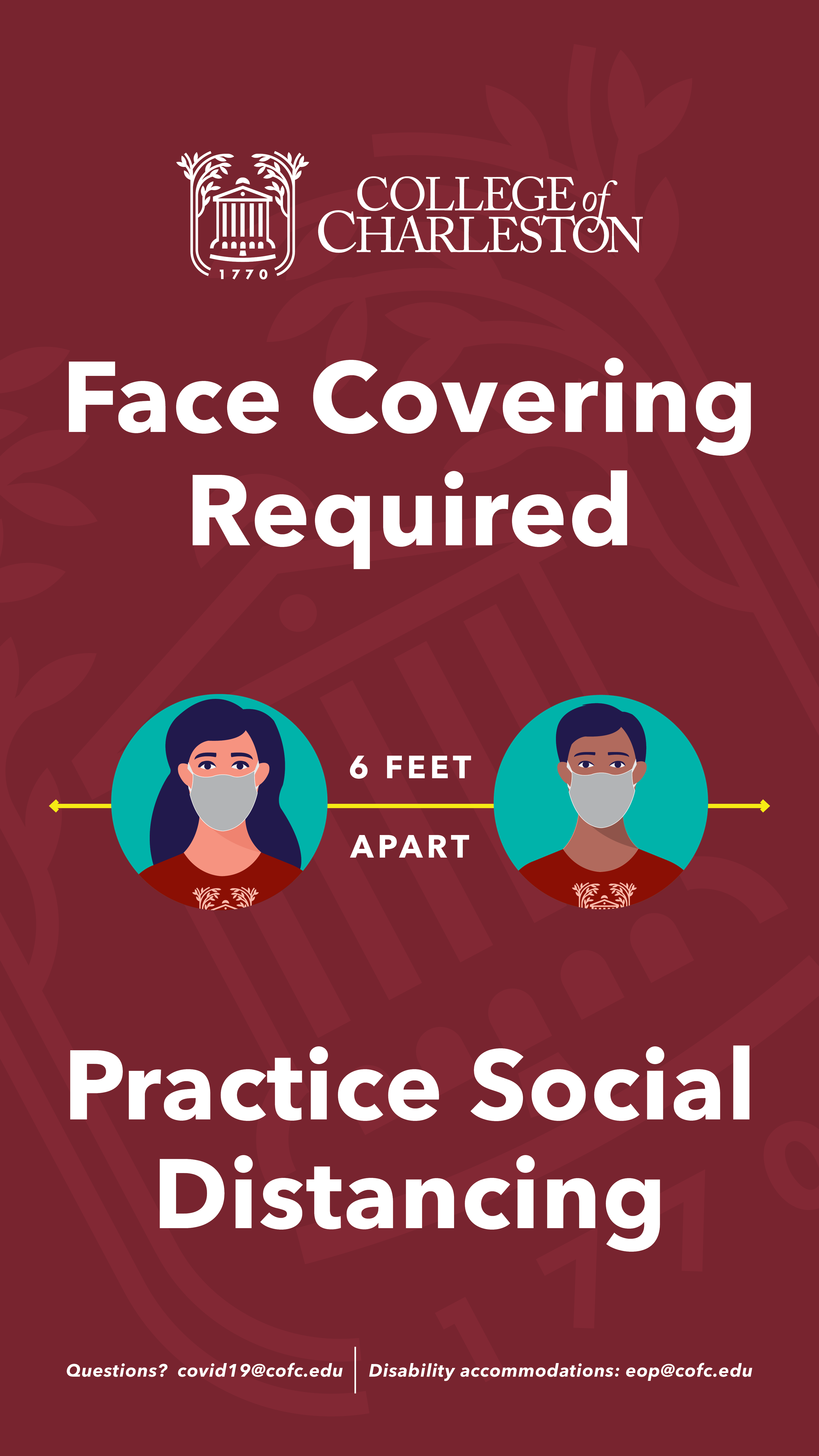 image of signage for Face Cover and Social Distancing for Kiosk
